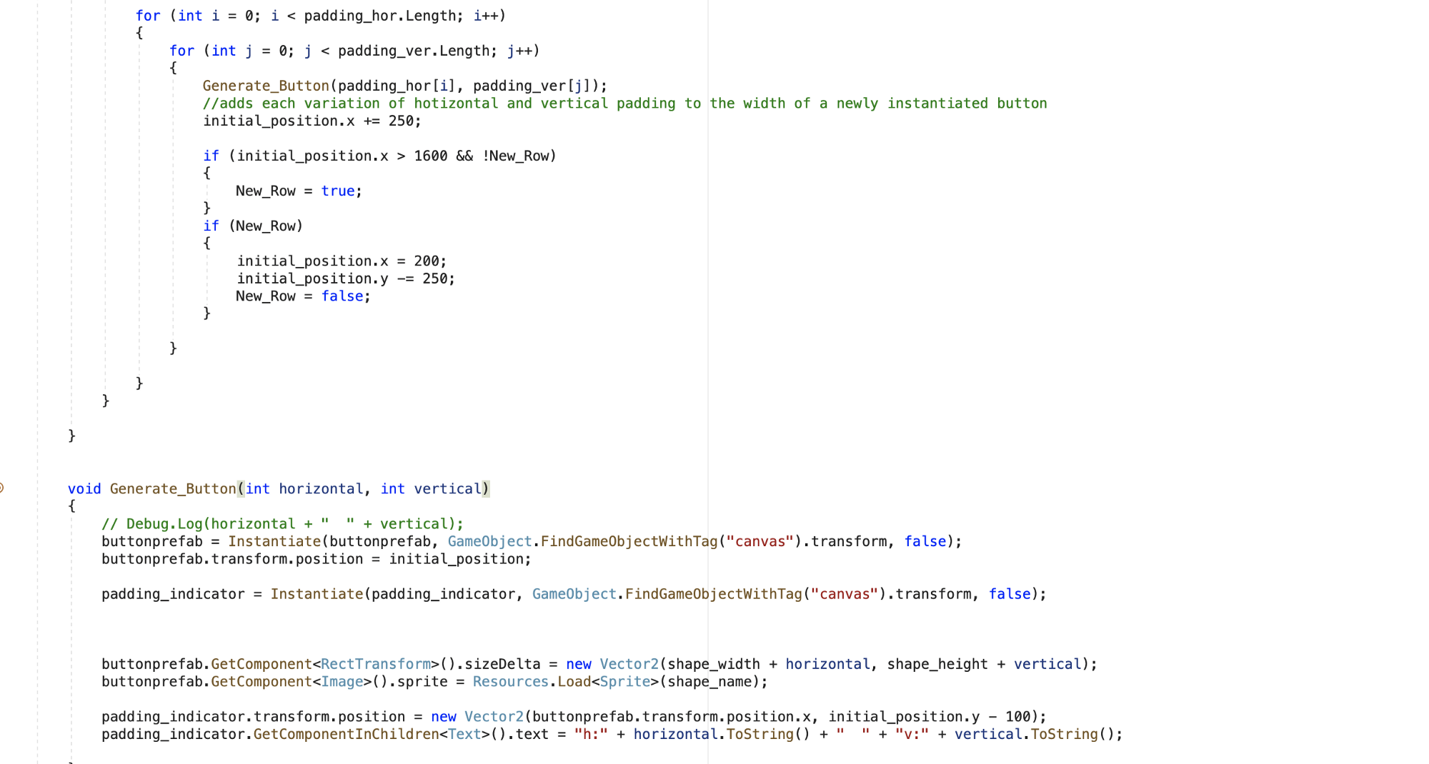 Screenshot of code from Visual Studio. It includes 2 for loops for padding values and a function to render buttons