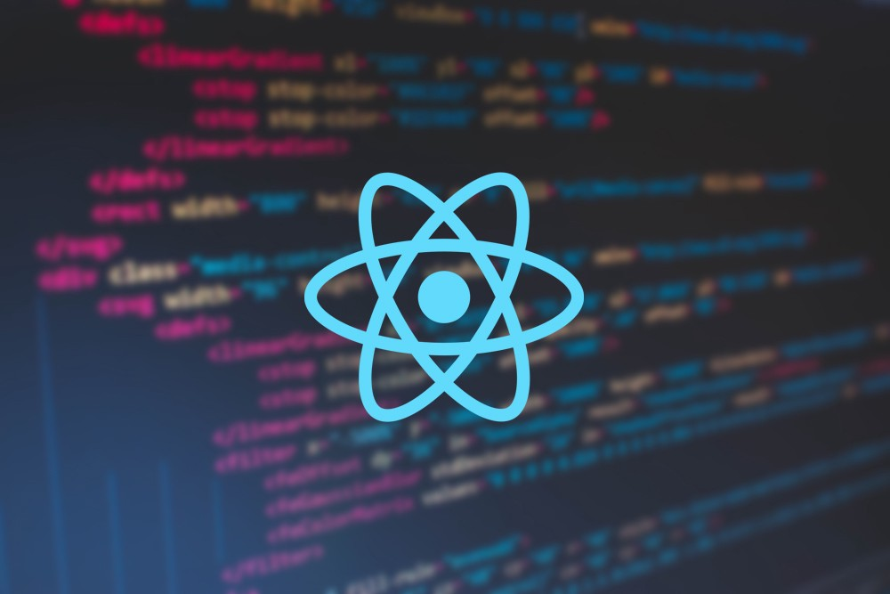 HTML code background with React logo on top