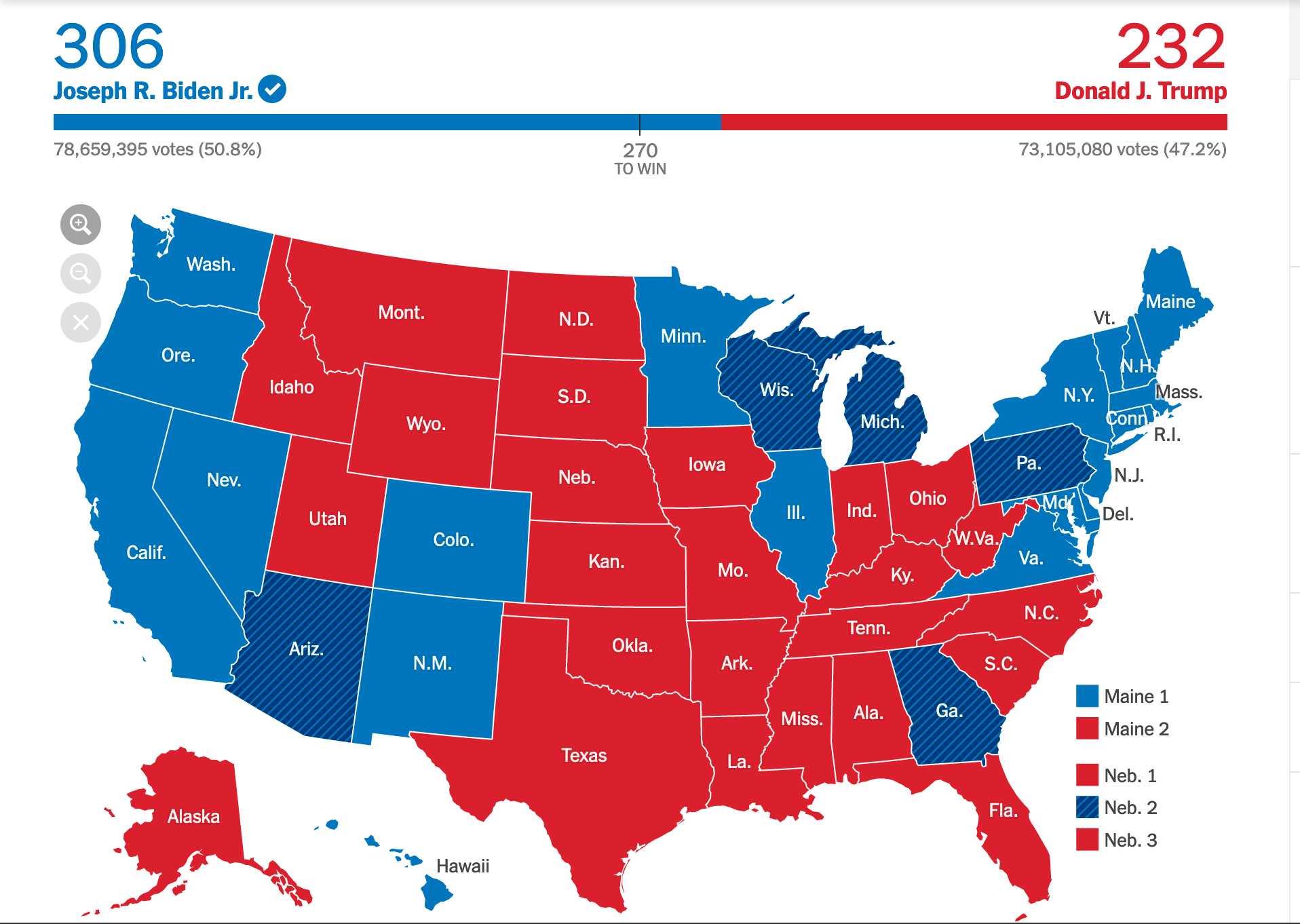 2020 Presidential Election Electoral College Map (220.11.15 03:05) | © The New York Times