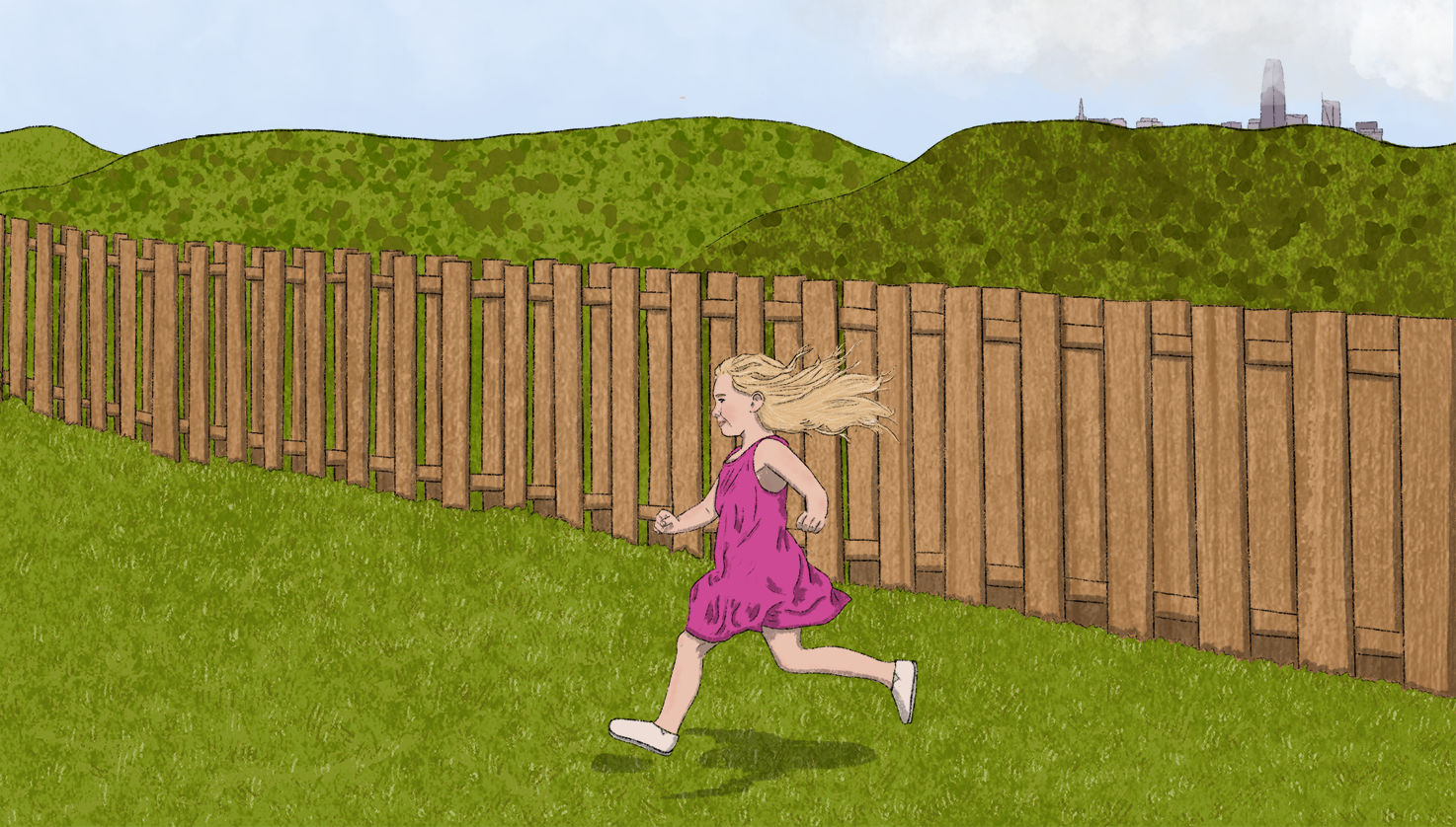 Illustration of a child running in a fenced-in backyard, the San Francisco skyline visible in the far distance.