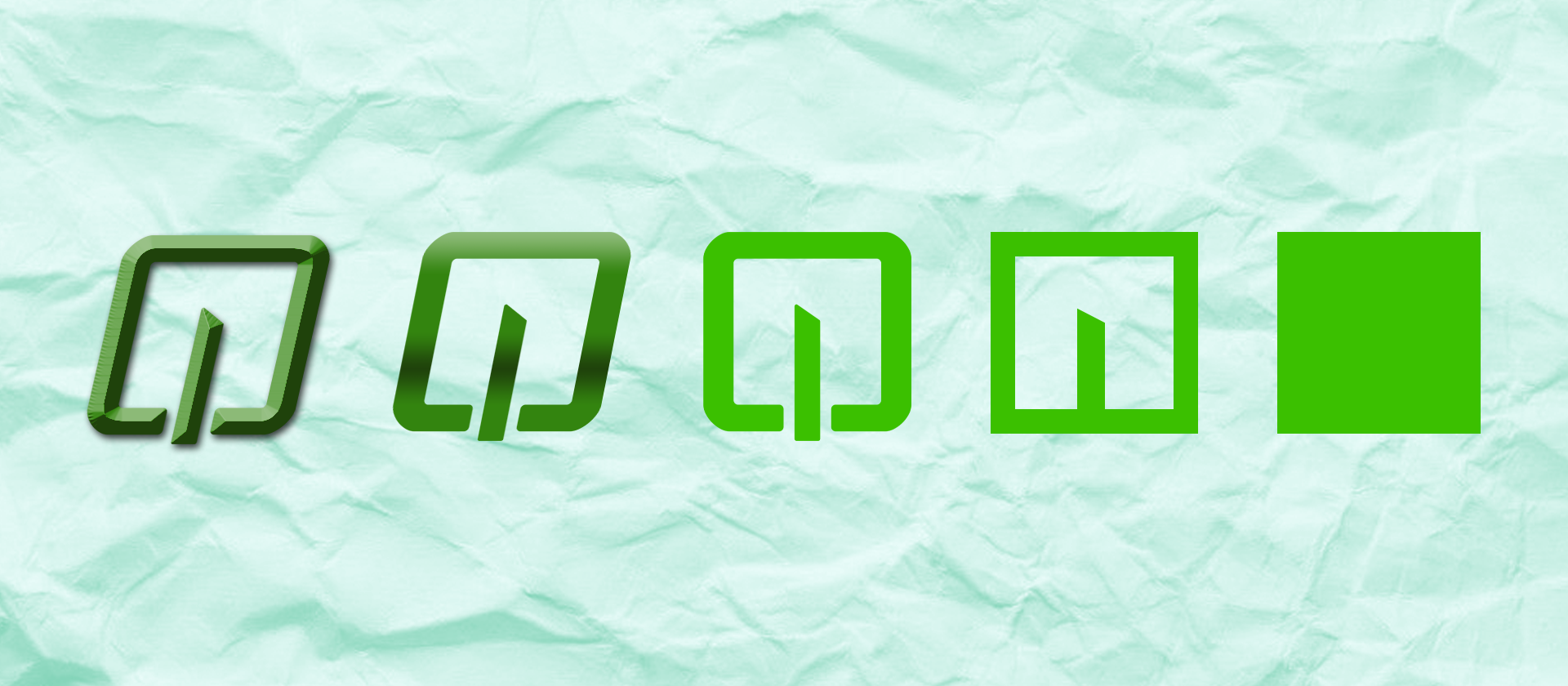 Logo transforming into a green square on top of a cyan paper background
