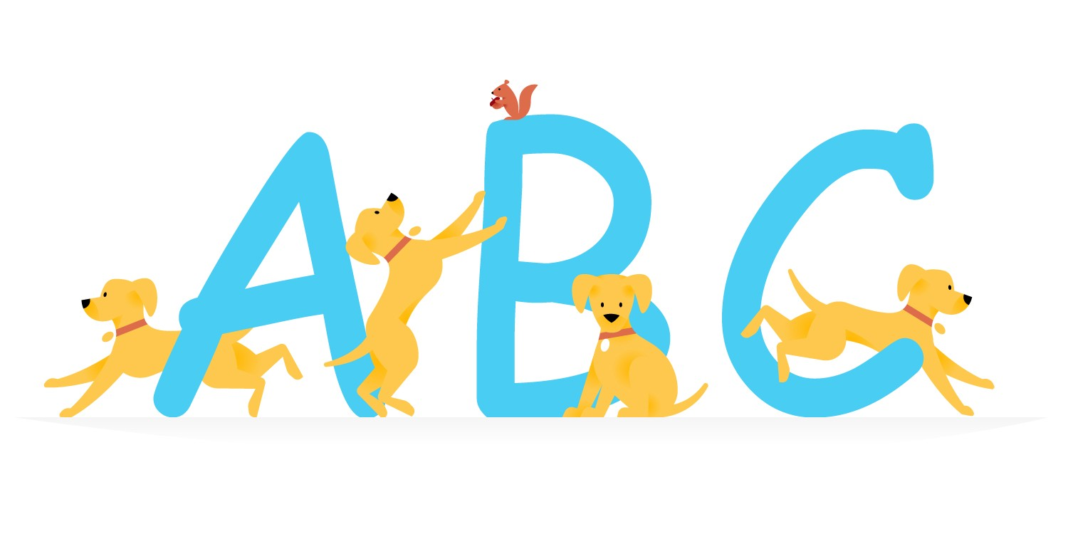 """The letters """"A, B, and C"""" in Comic Sans font with puppies playing around it."""