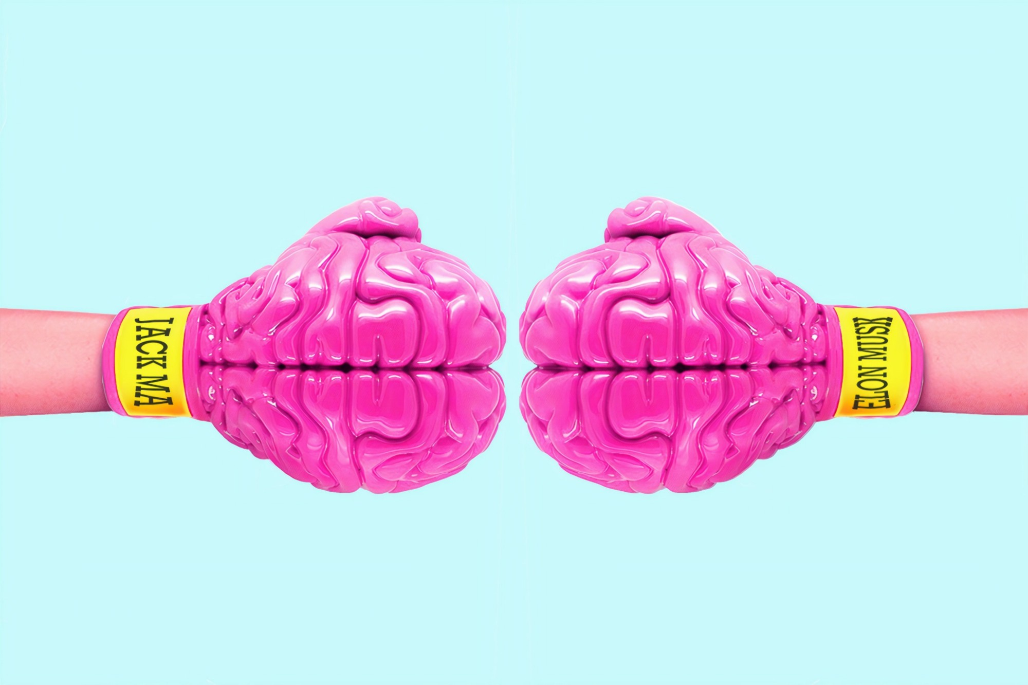 Two pink boxing gloves shaped as human brains.