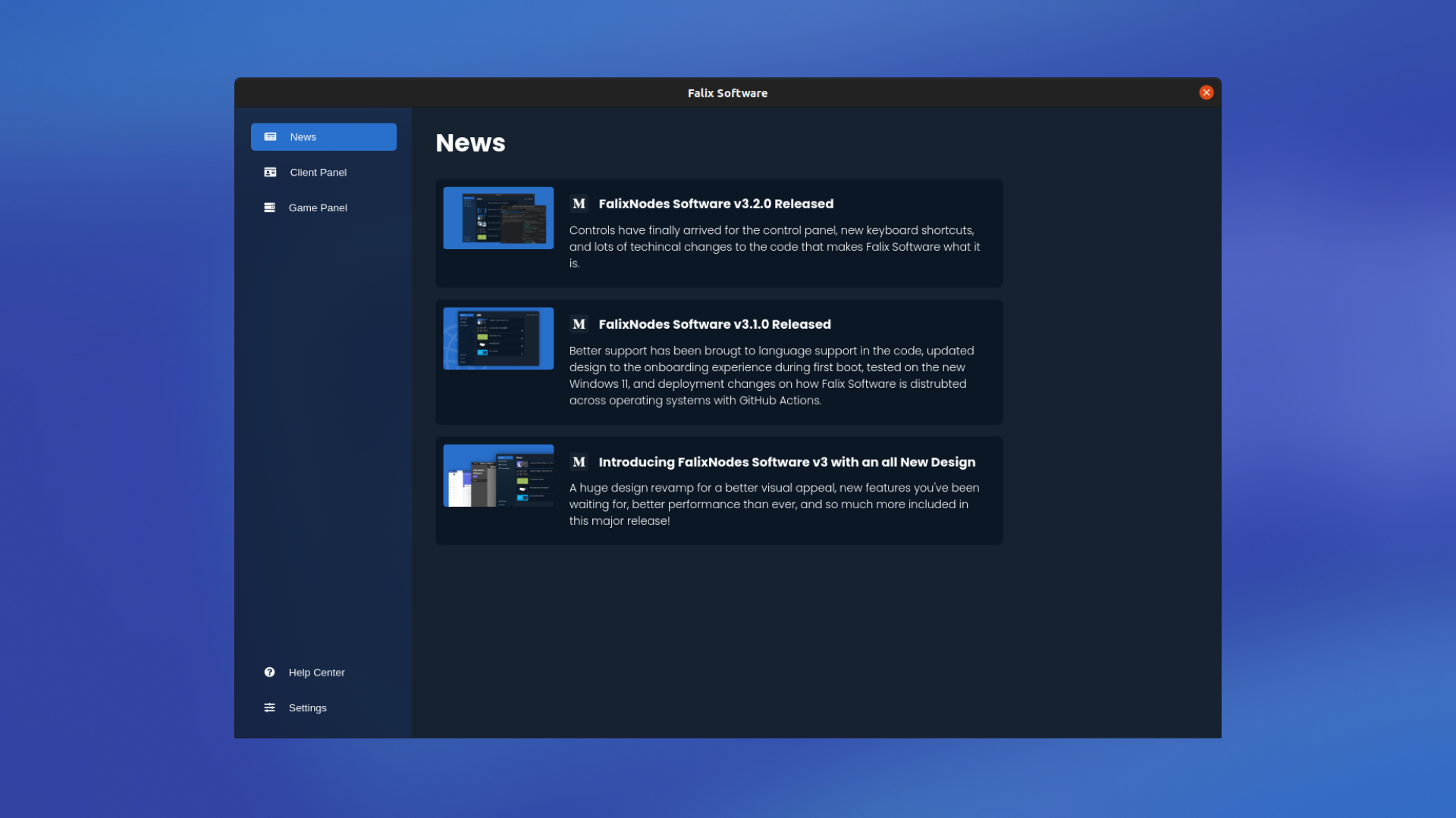 Preview of Falix Software with the News tab selected as default, showing three articles.