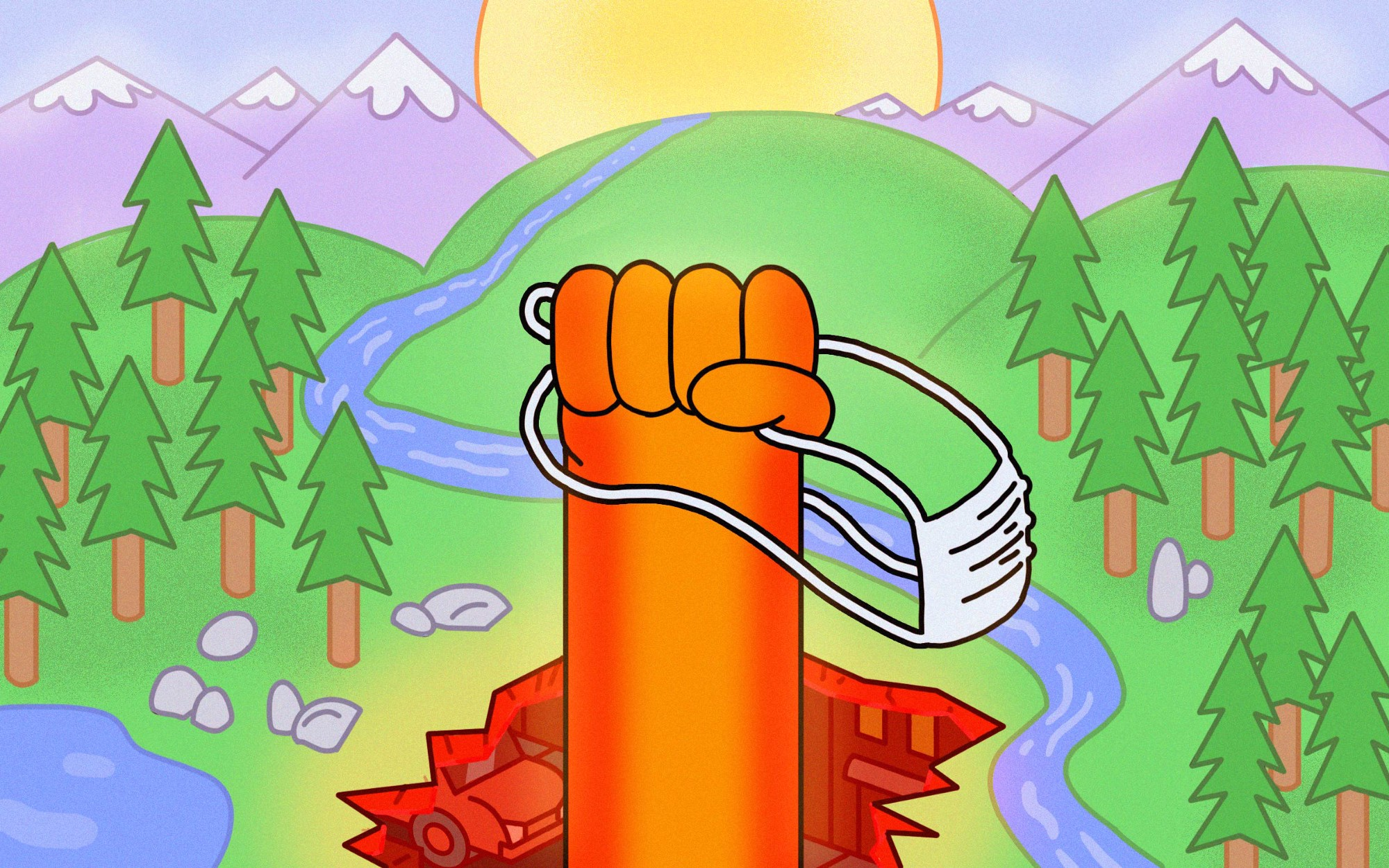 An illustration of a fist up holding a face mask, with a peaceful landscape background.