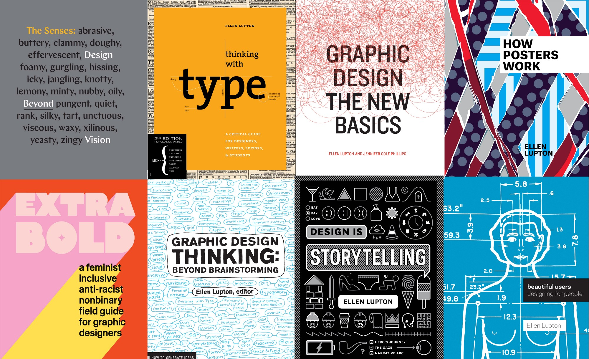 Cover images of Ellen Lupton's books: The Senses: Design Beyond Vision; Thinking with Type; Graphic Design: The New Basics; How Posters Work; Extra Bold; Graphic Design Thinking; Design is Storytelling; and Beautiful Users: Designing for Peopl