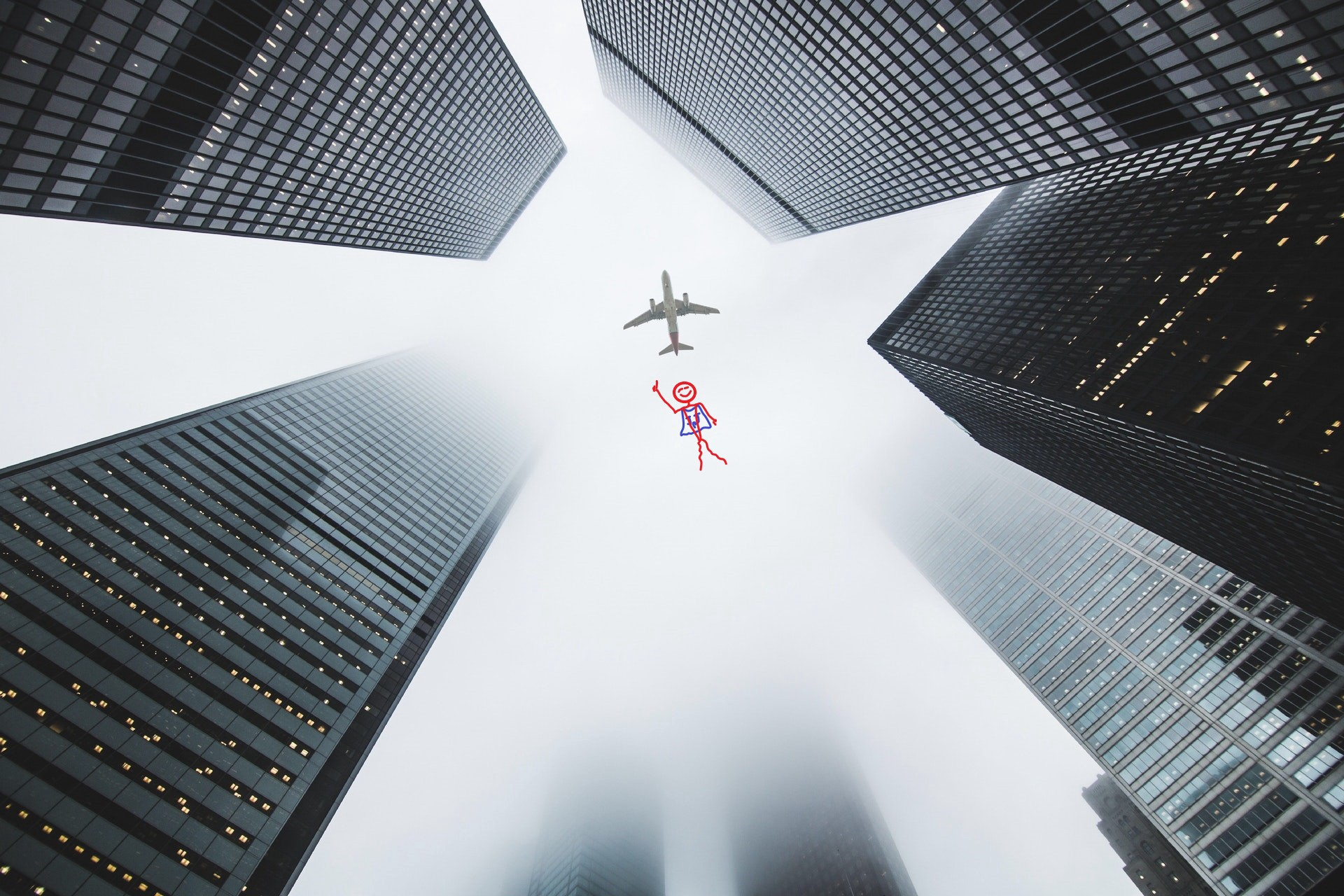 A plan flying above four buildings being chased by a stick figure