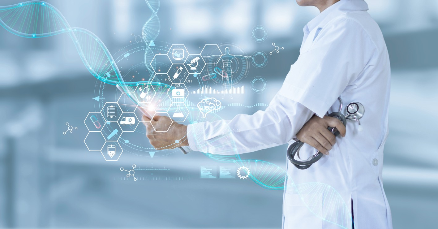 Doctor holding electronic medical and record on tablet. DNA. Digital healthcare and network connection on hologram modern virtual screen interface, medical technology and futuristic concept.