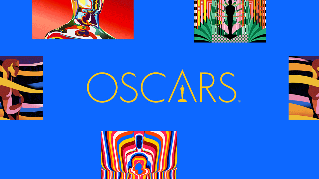 Blue header banner with psychedelic statuette graphics. Centered is the Oscars logo in gold lettering