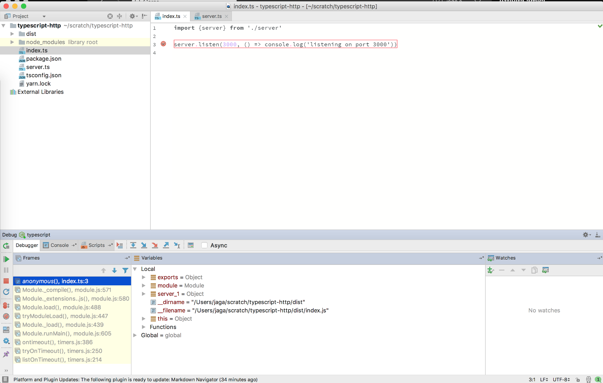 Getting started with Typescript debugging with Webstorm breakpoints