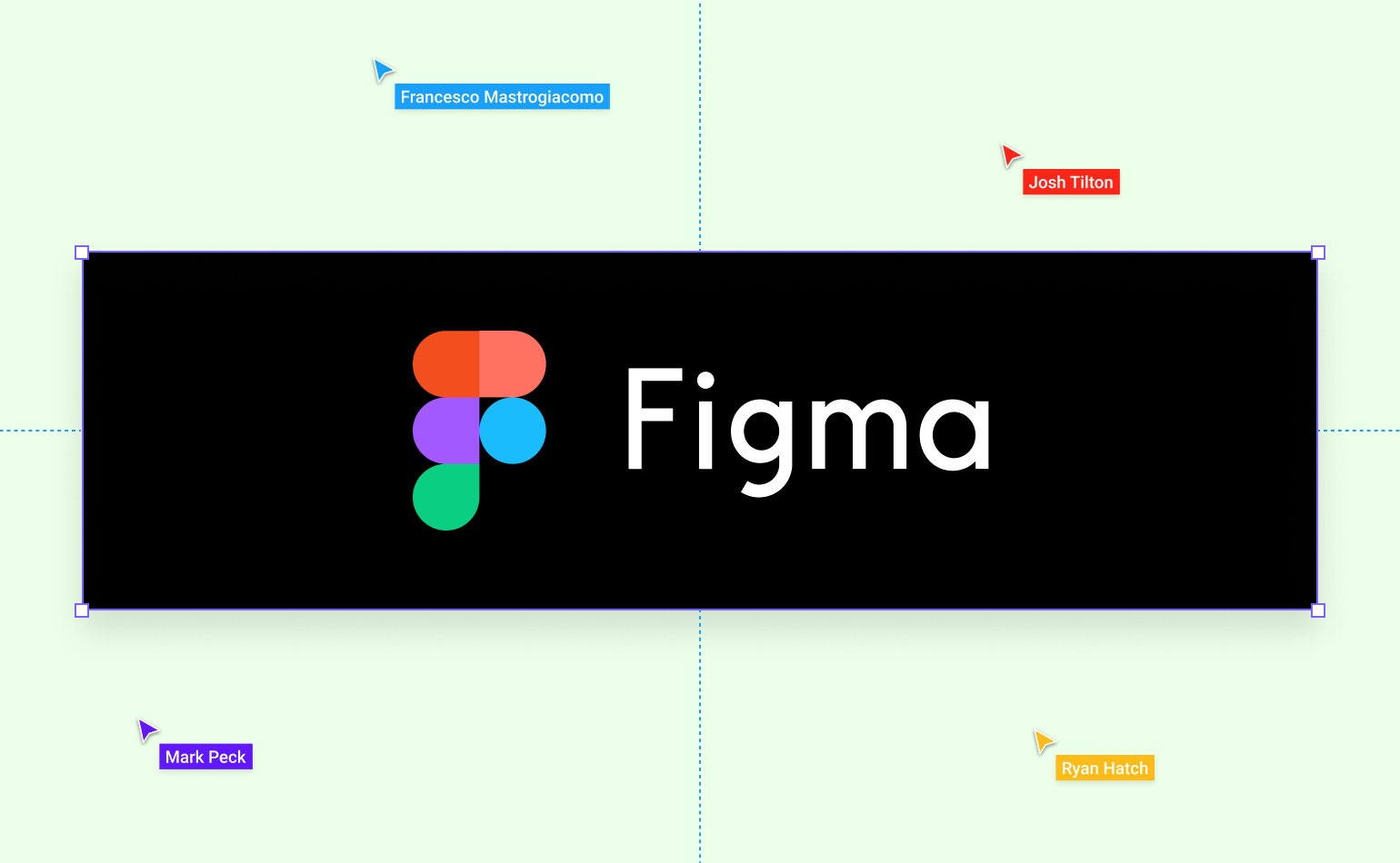 Figma logo and hero image with four cursors indicating work and team collaboration.