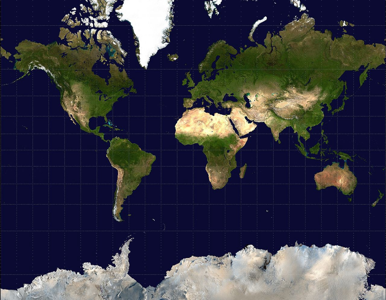 A rectangular world map projection showing physical landforms. America lies on the left hand side, while Europe, Africa, Asia and Australia on the right. Antarctica is partially shown at the bottom. Both the northernmost and southernmost section are massively distorted to gigantic sizes.
