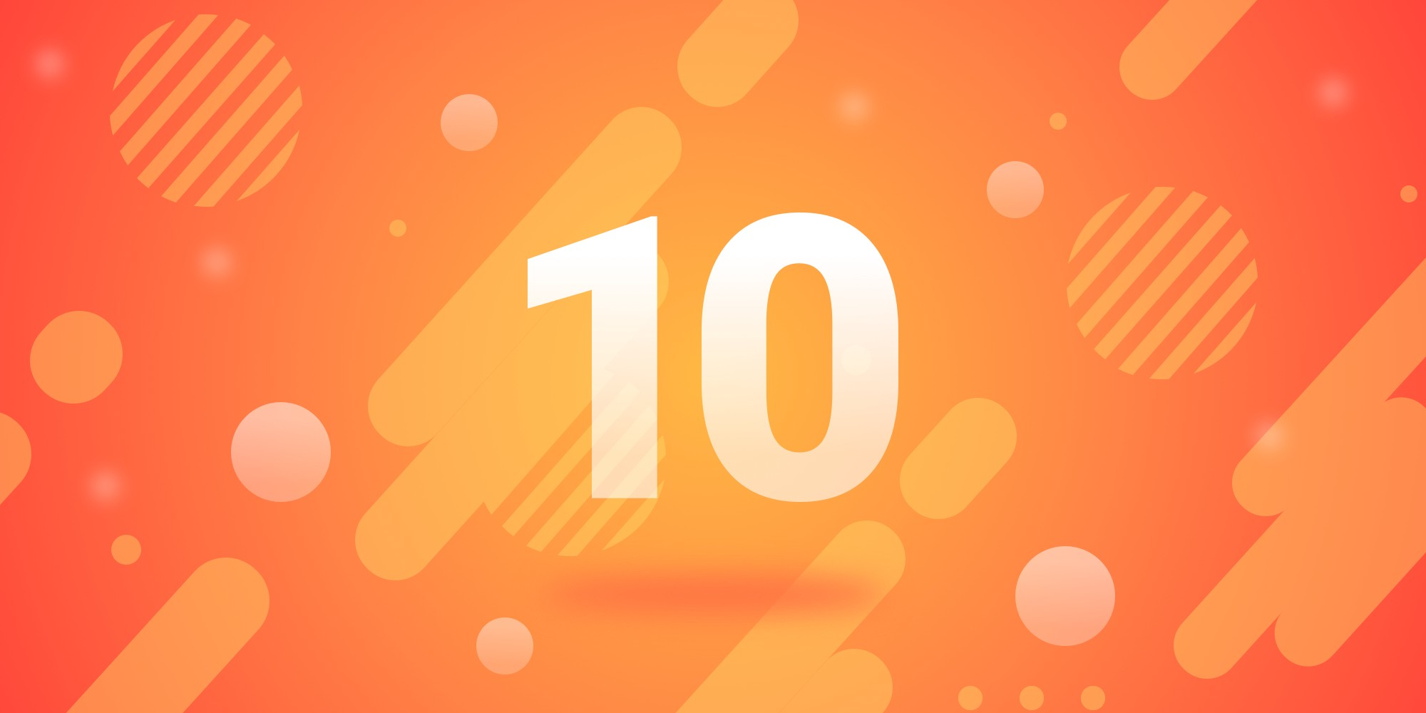 A number 10 overlaying a bright red graphic containing different shapes and patterns