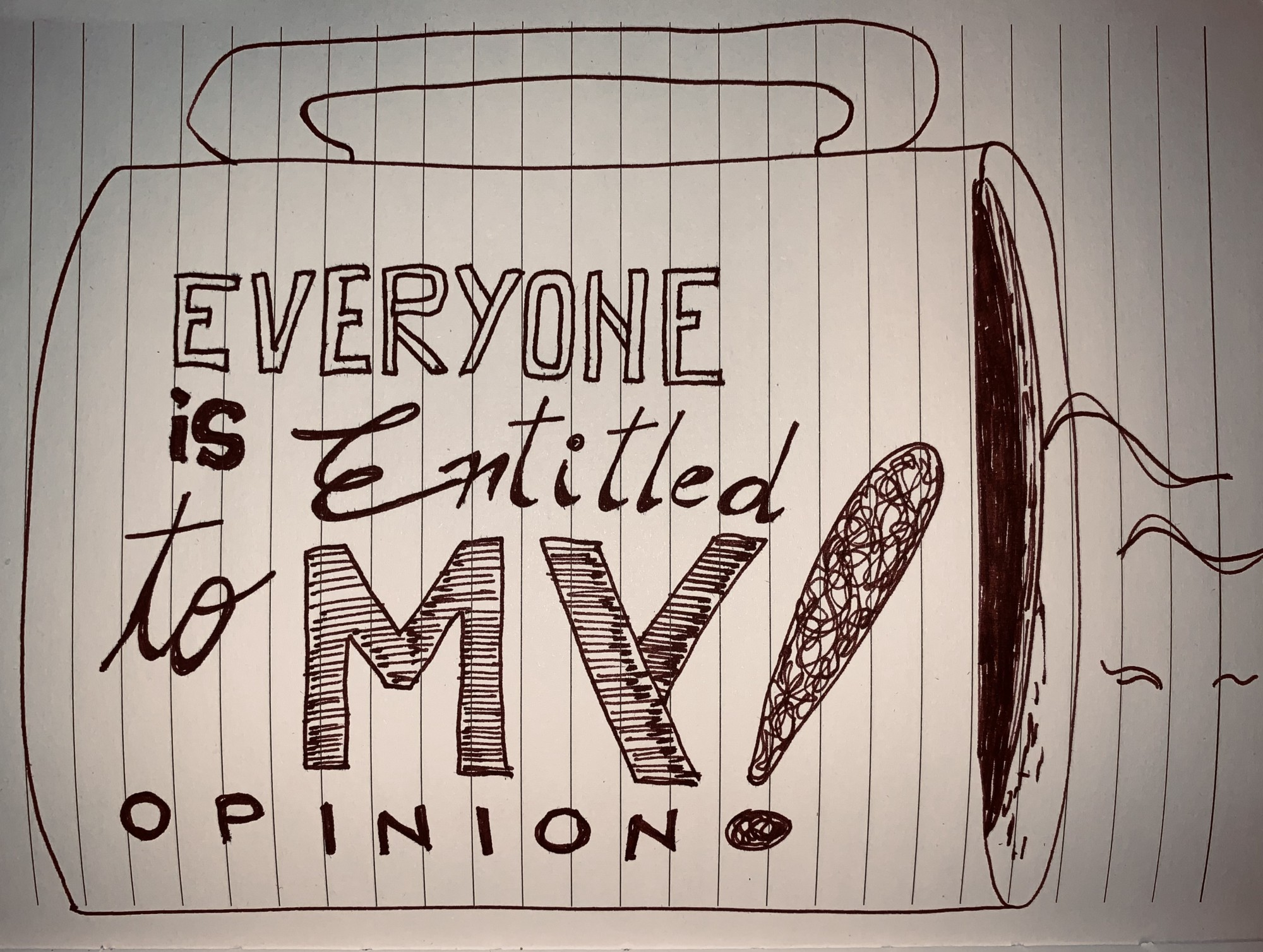 "A sketch presenting a cup of coffee with the inscription: ""Everyone is entitled to my opinion!"" — Created by Captain V"