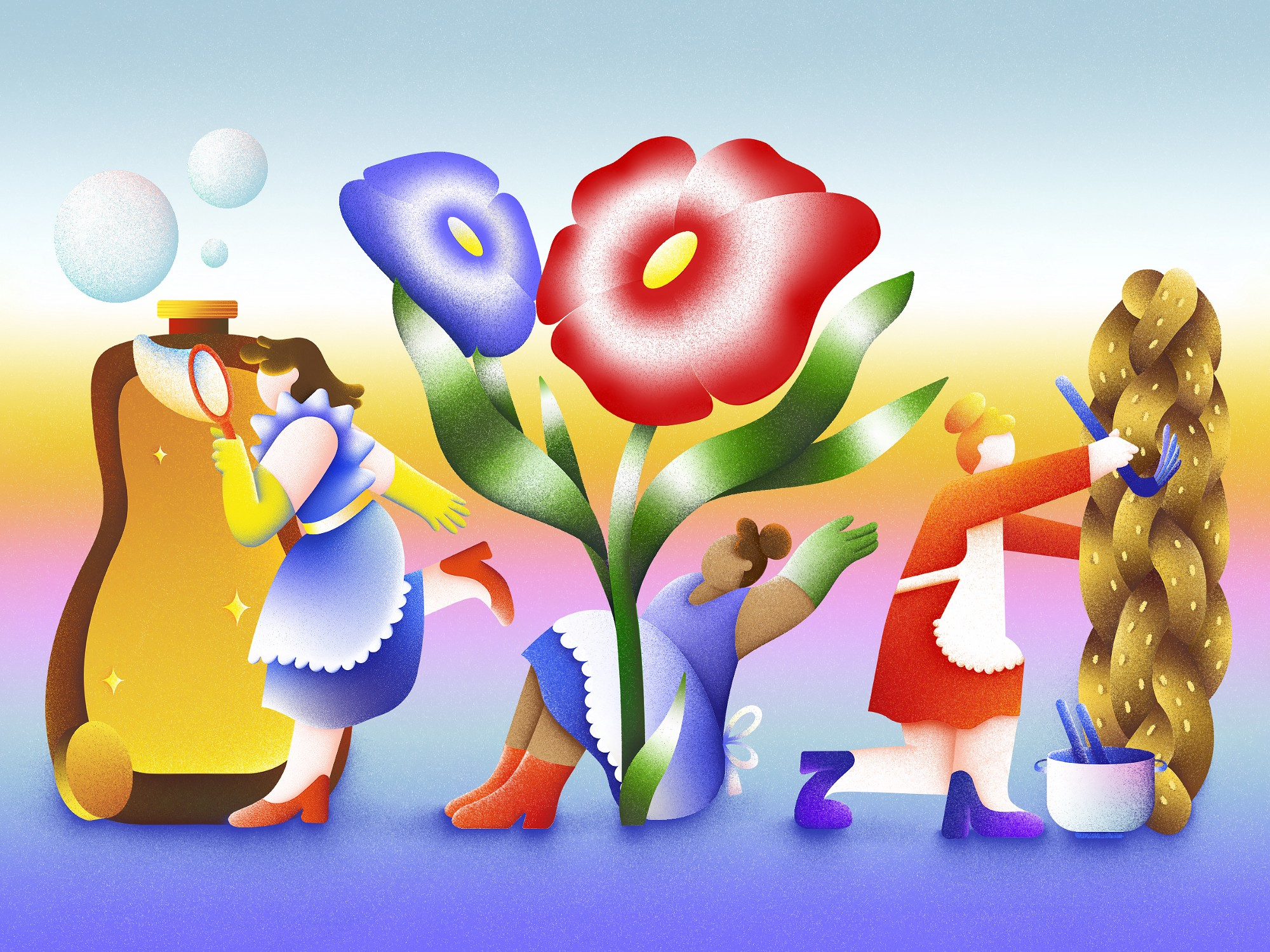 An illustration of three women characters cleaning, gardening, and doing other household chores.