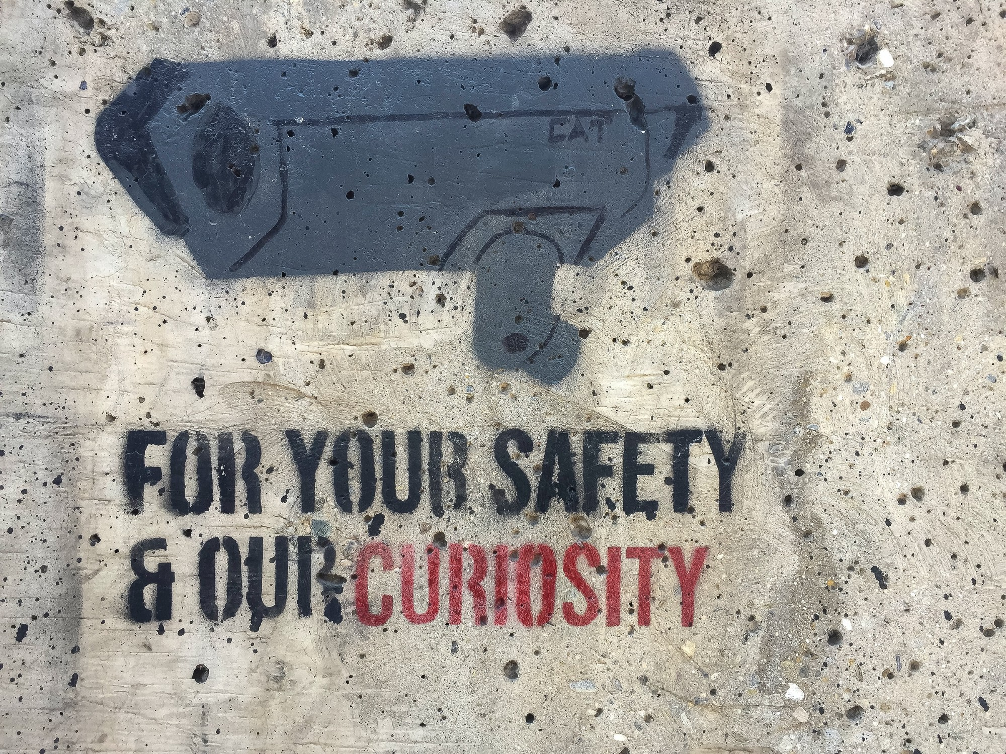 "Camera tag with quote saying: ""For your safety and our curiosity"""