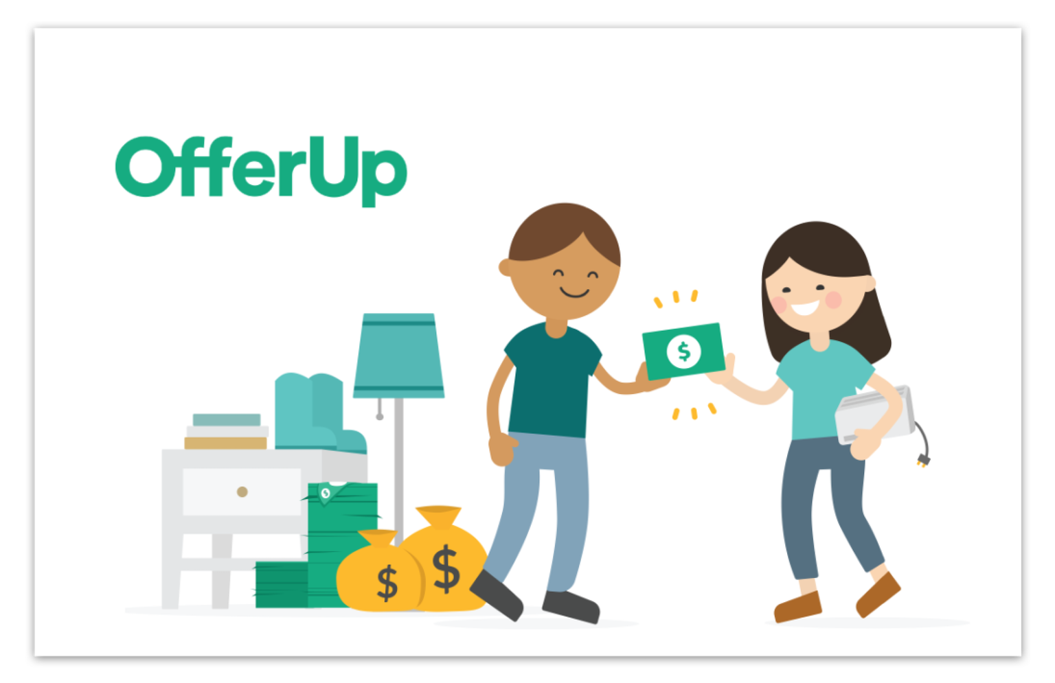 illustrated graphic of two people exchanging items for money with OfferUp branding