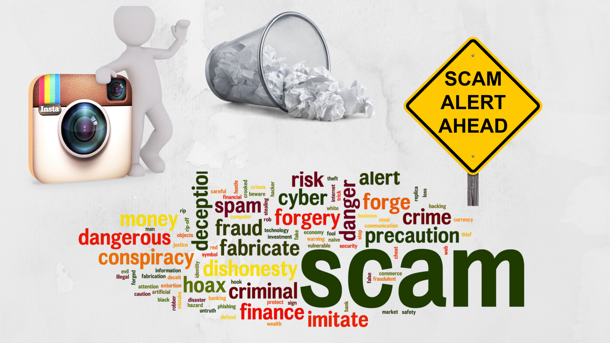 A background image full of scam and it's related keywords
