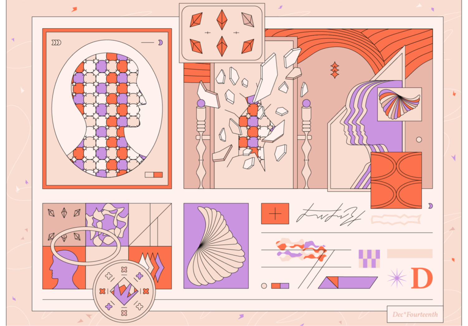 An illustration from Dribbble portraying abstract psychology