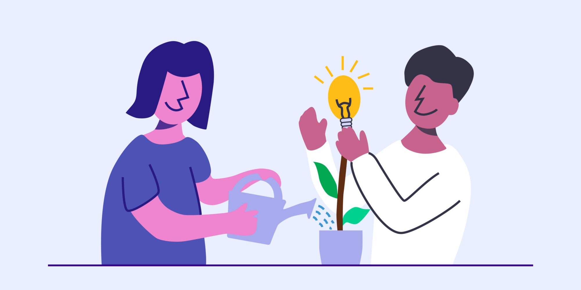 Illustration of two individuals watering a plant with a lightbulb.