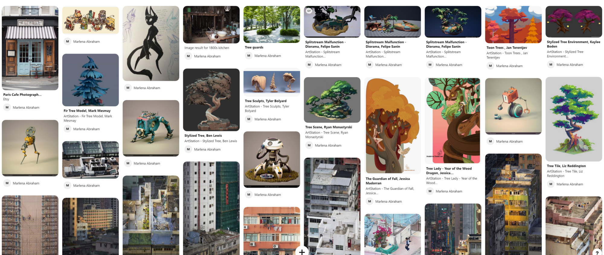 A mood board on Pinterest featuring apartments, skyscrapers, robots, and trees