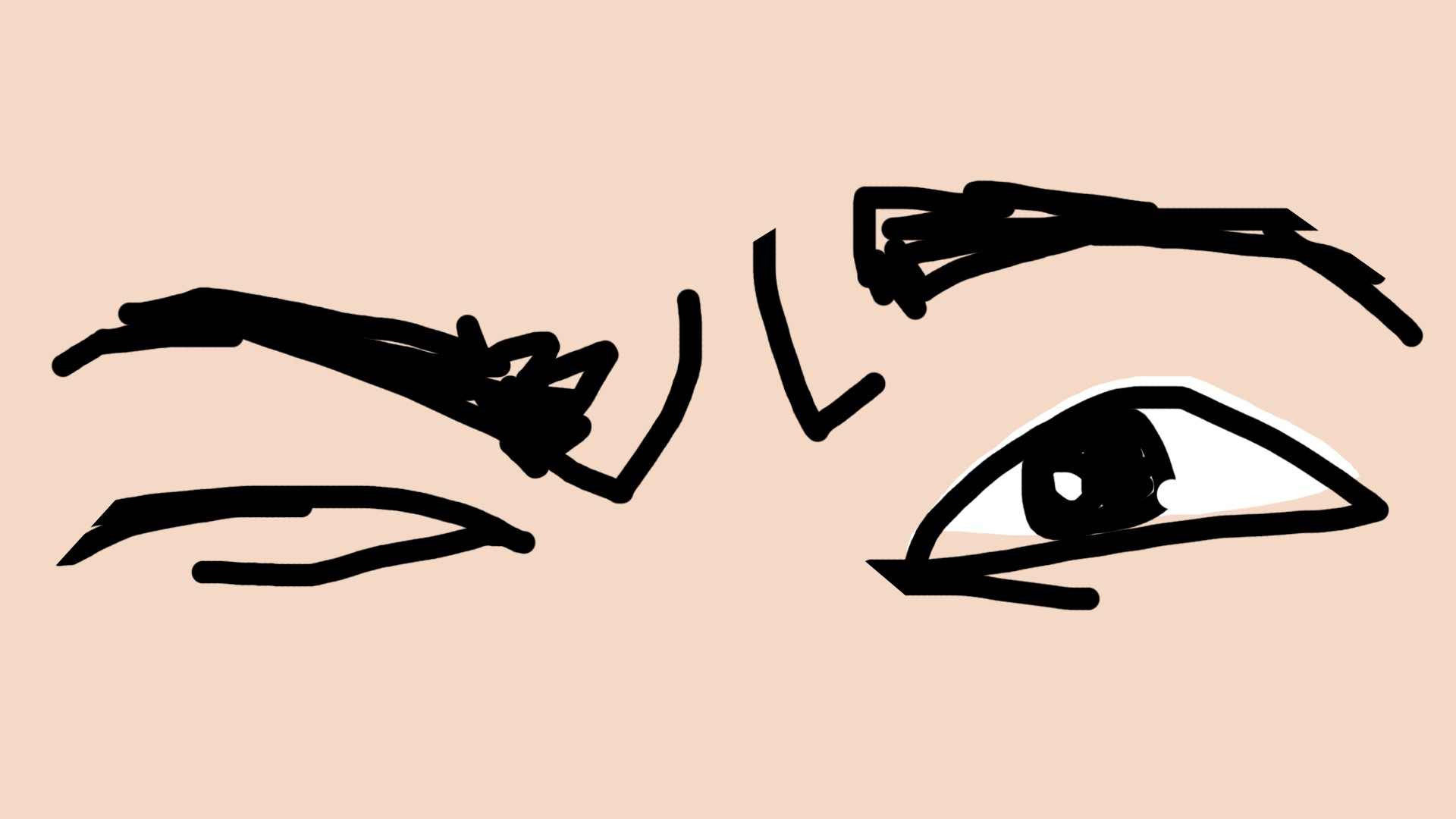 poorly drawn thinking face close up