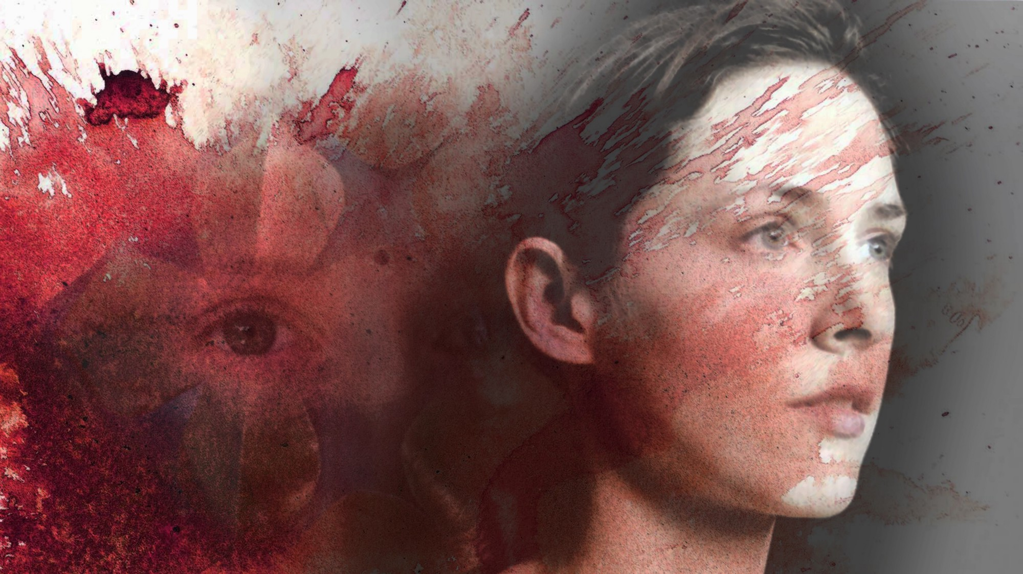 Composite image of a woman's profile, splashes of red paint and her eyes show faintly in the background.
