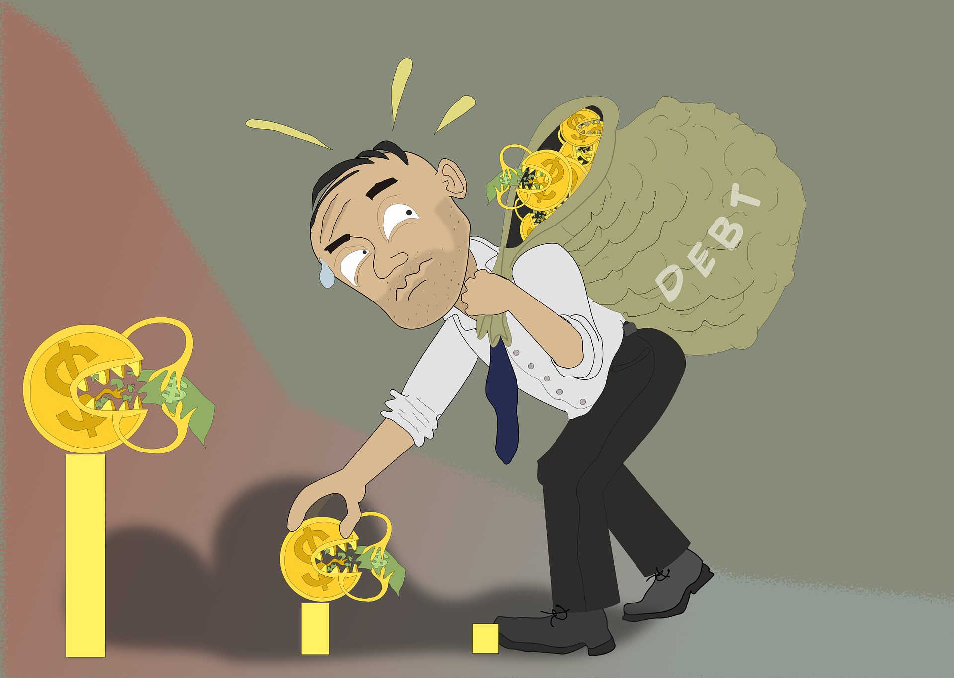 Cartoon of a man struggling with a bag labeled 'debt' and small coins that are eating dollars.