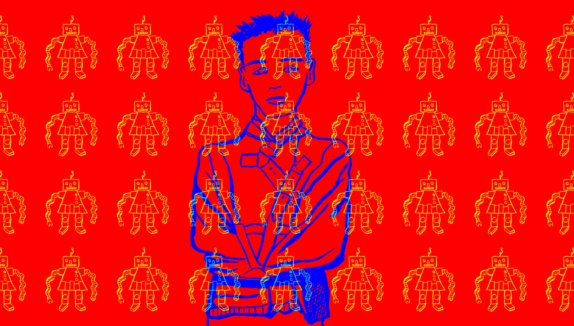 Illustration of a man in a straitjacket with an overlaying pattern of robots covering the whole image.