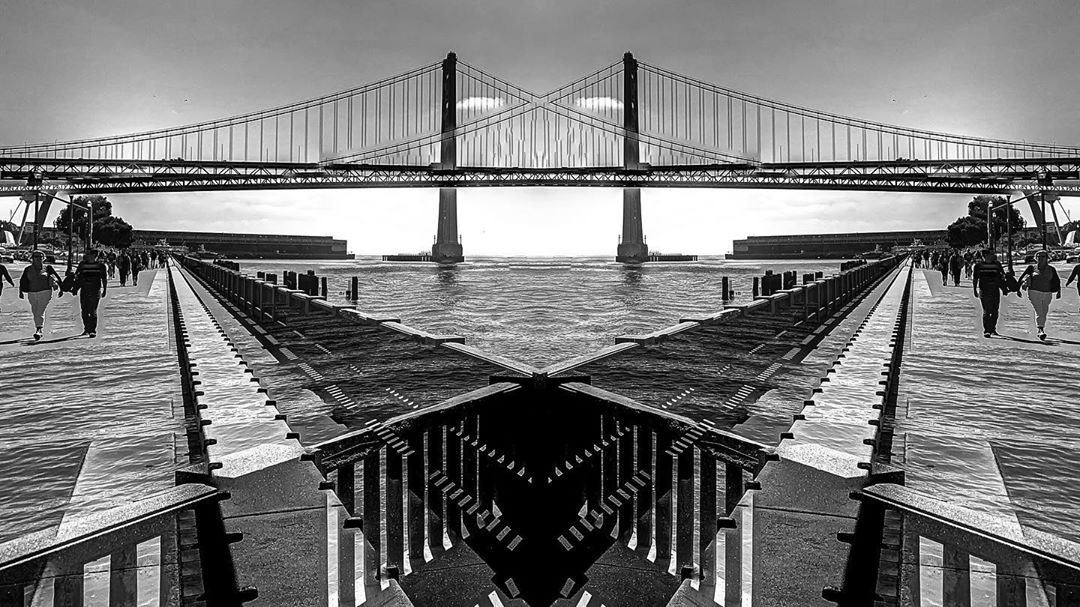 A trippy picture of the San Francisco Bay Bridge