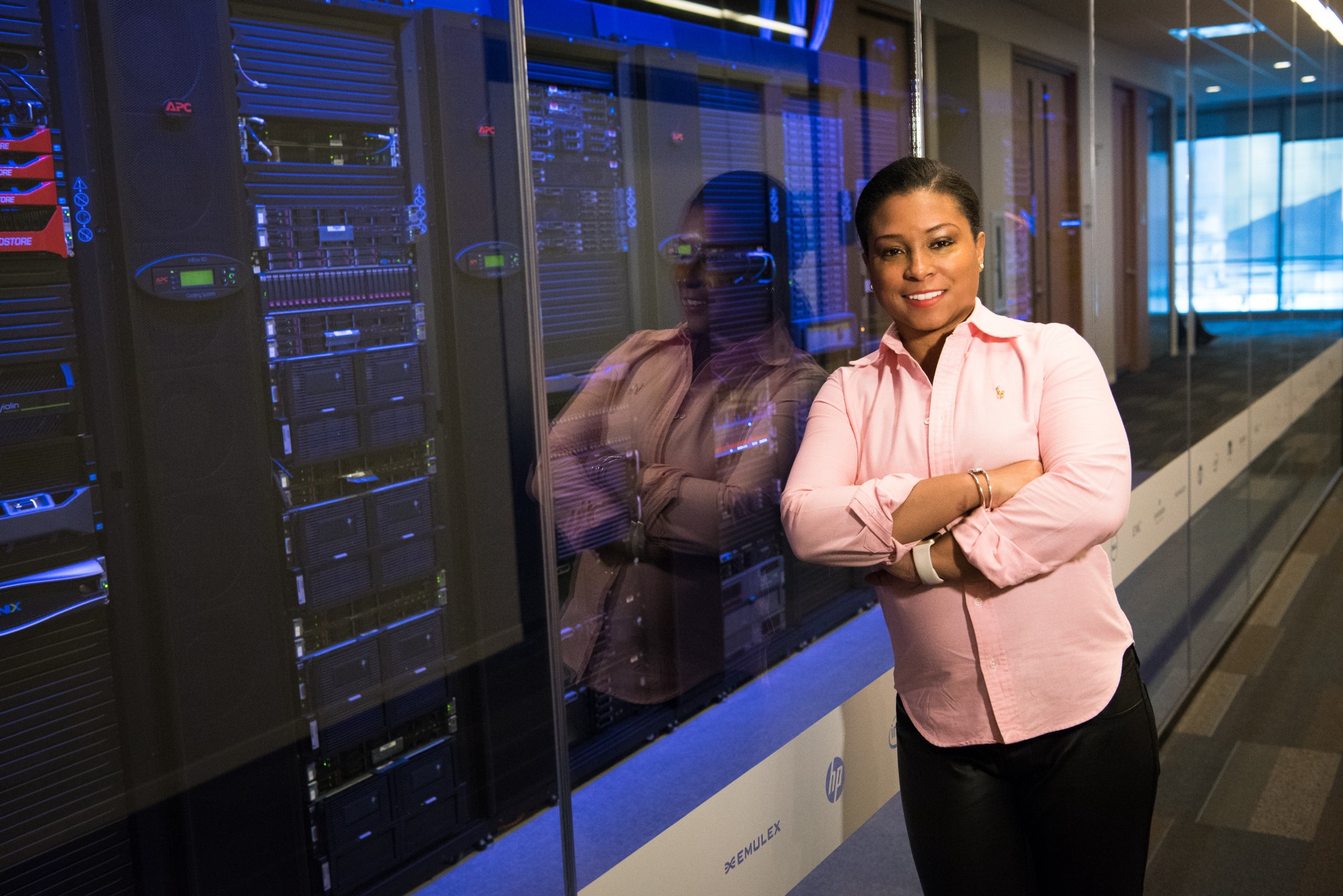 woman stands near to innovative systems