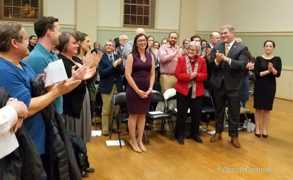 Amesbury Mayor Gove recieing a standing ovation at her inauguration.