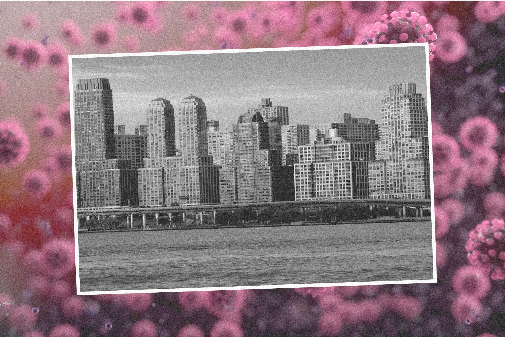 A photograph of NYC skyline with coronavirus particles in the background.