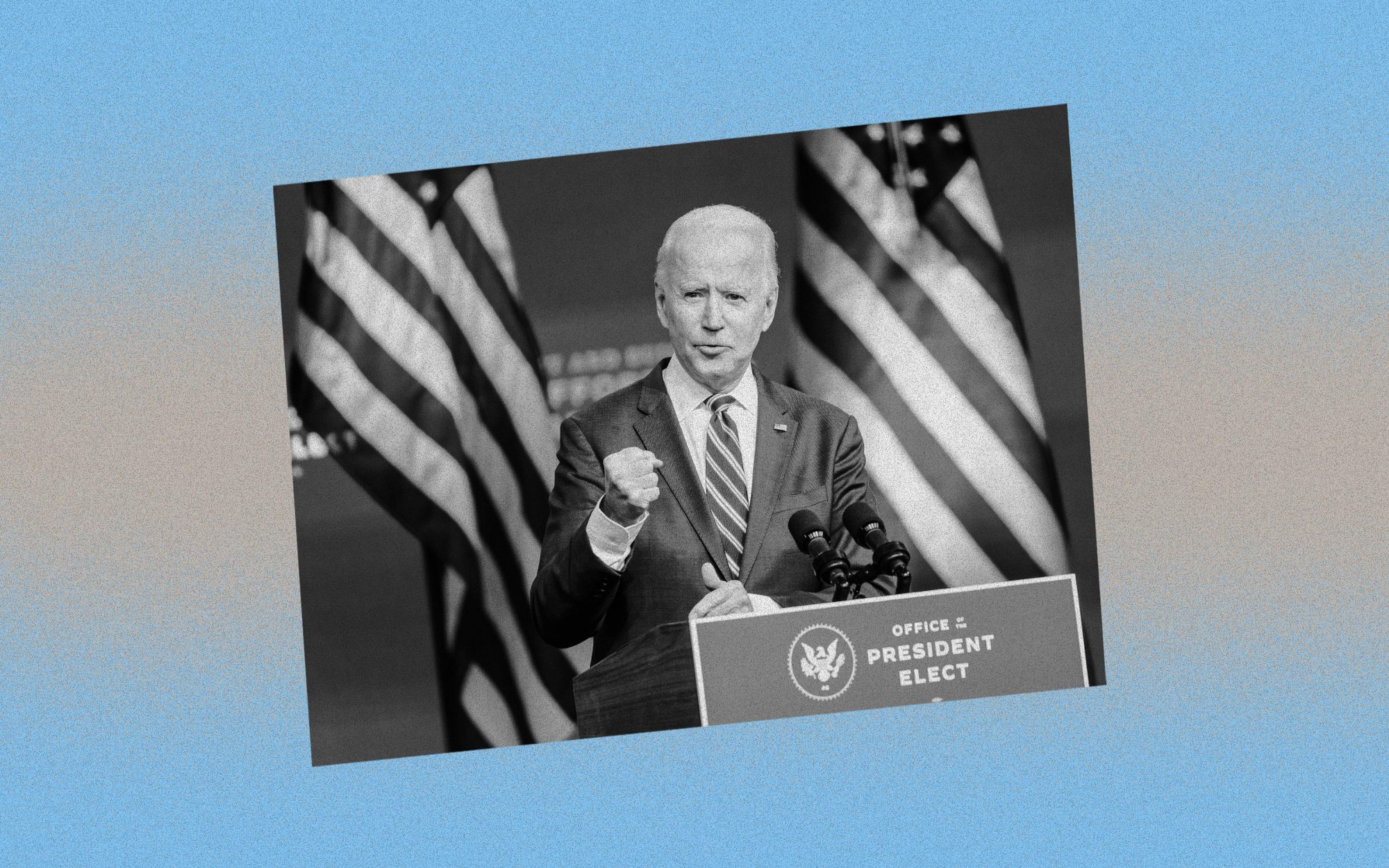 Black and white image of Joe Biden giving a speech against a blue and silver background.