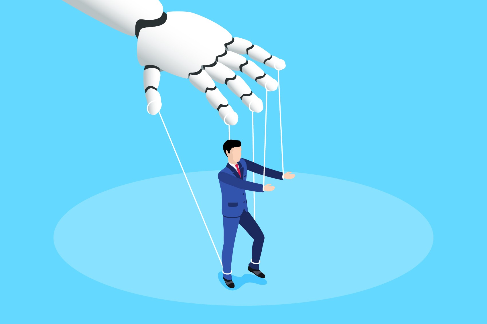Robot hand manipulates a man in a business suit