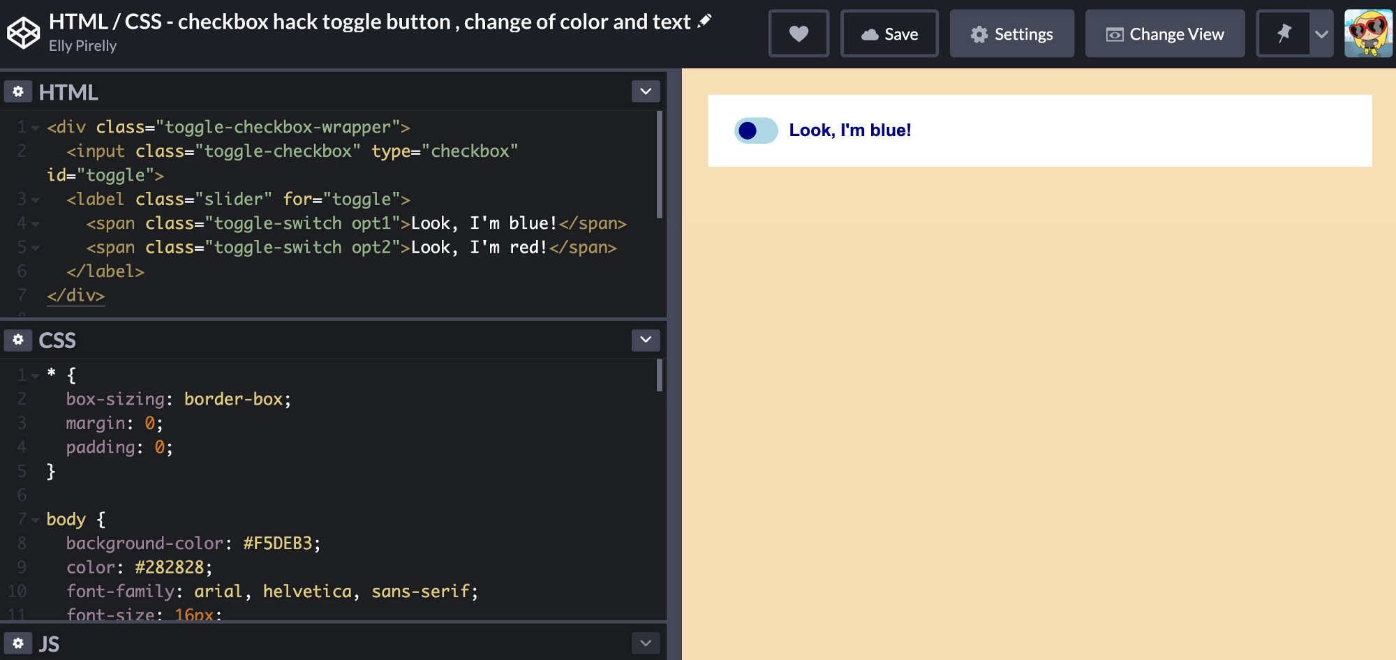 screenshot of a toggle switch on codepen