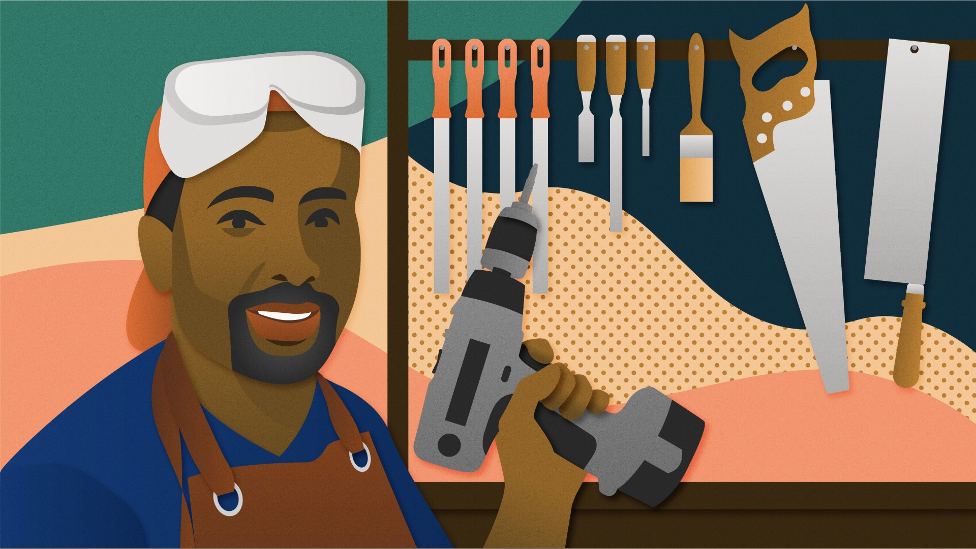 Jomo Tariku, a Black man, wears work clothes and holds a drill in front of a rack of hand tools.