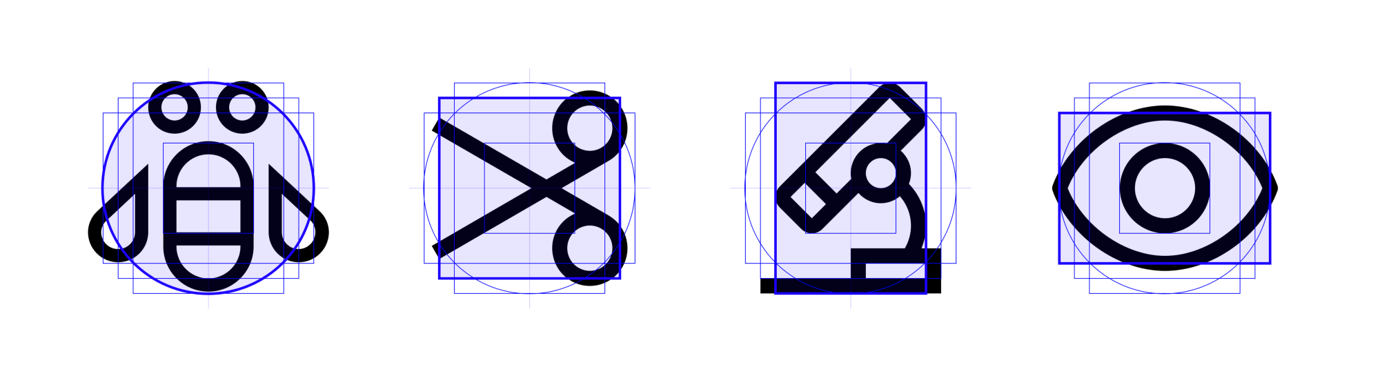 IBM icons for bee, cut, microscope, and eye reference keyshapes