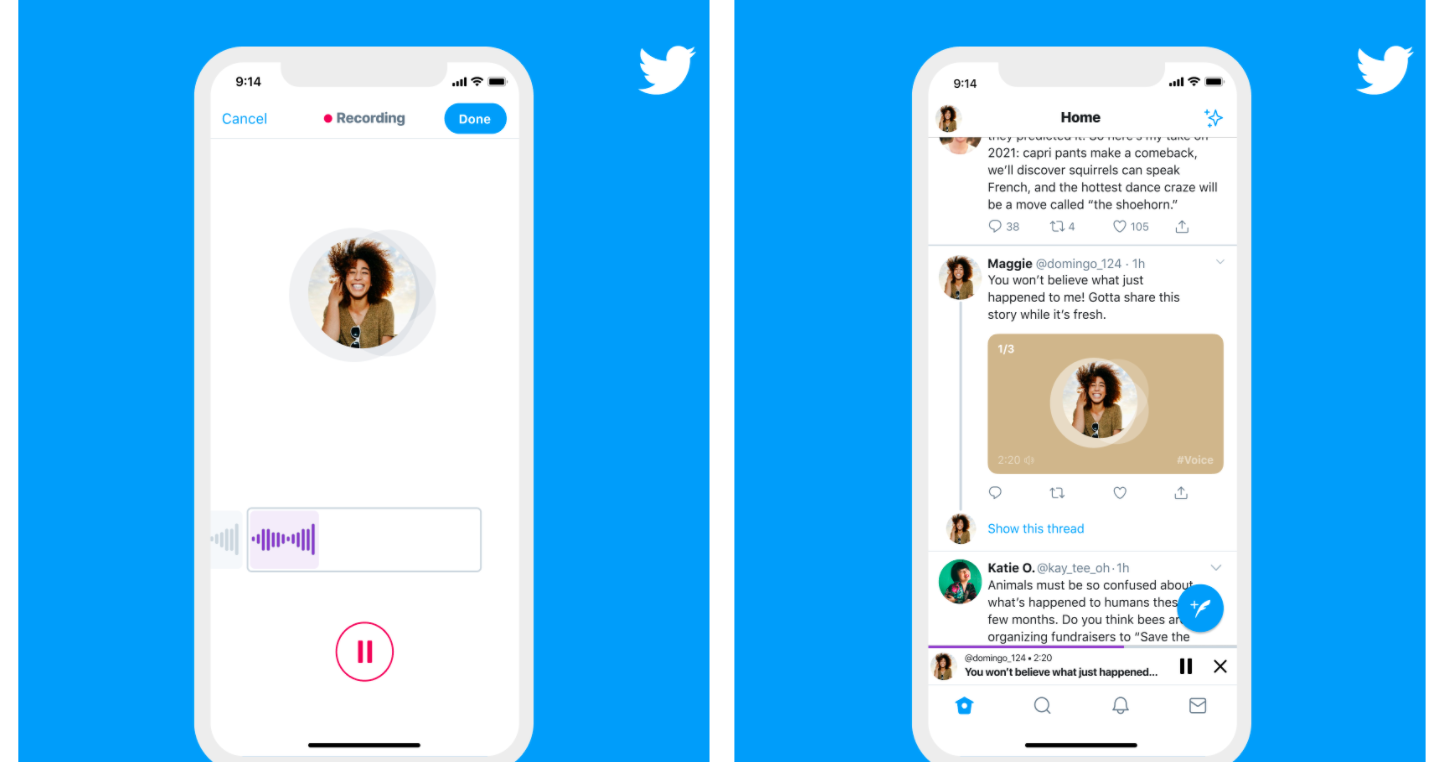 Images of the new Twitter voice tweets feature from the company's product announcement page