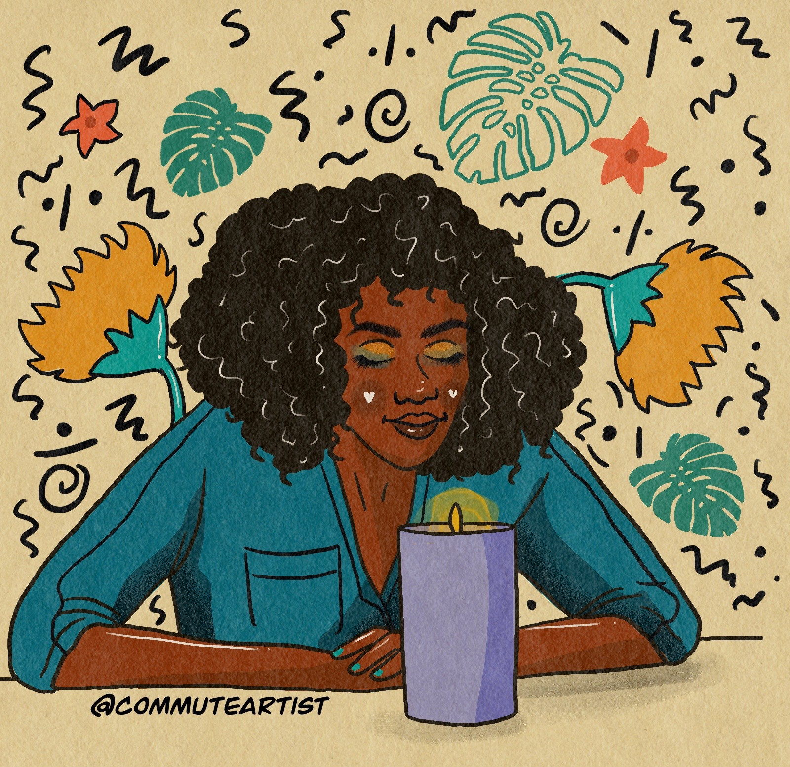 Illustration of a woman sitting at a table smelling a lit candle