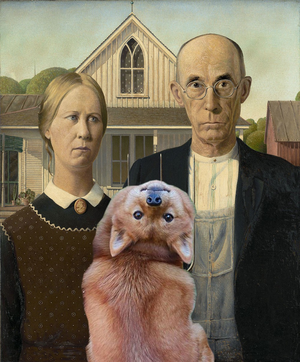 "Tofu is shown in the middle of the ""American Gothic"" painting."
