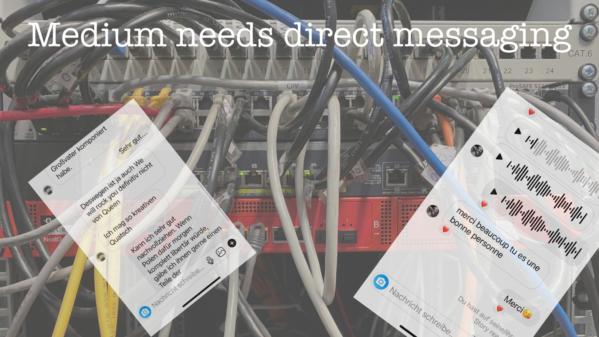 Medium needs direct messaging. It's very convenient to help people connect.