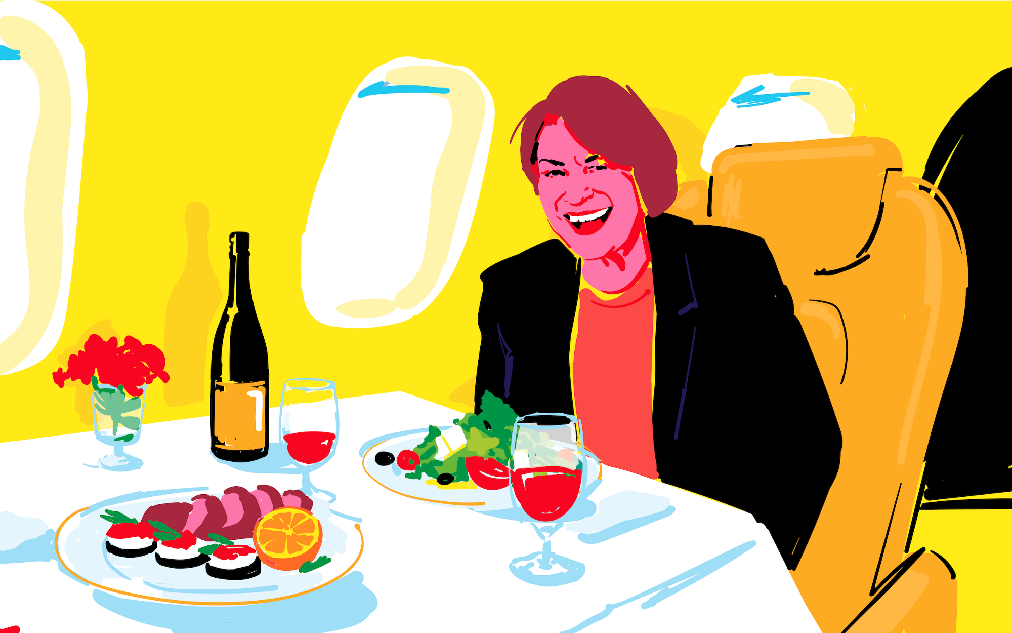 Sketchy illustration of Amy Klobuchar smiling in an airplane, a fancy dinner on a table in front of her.