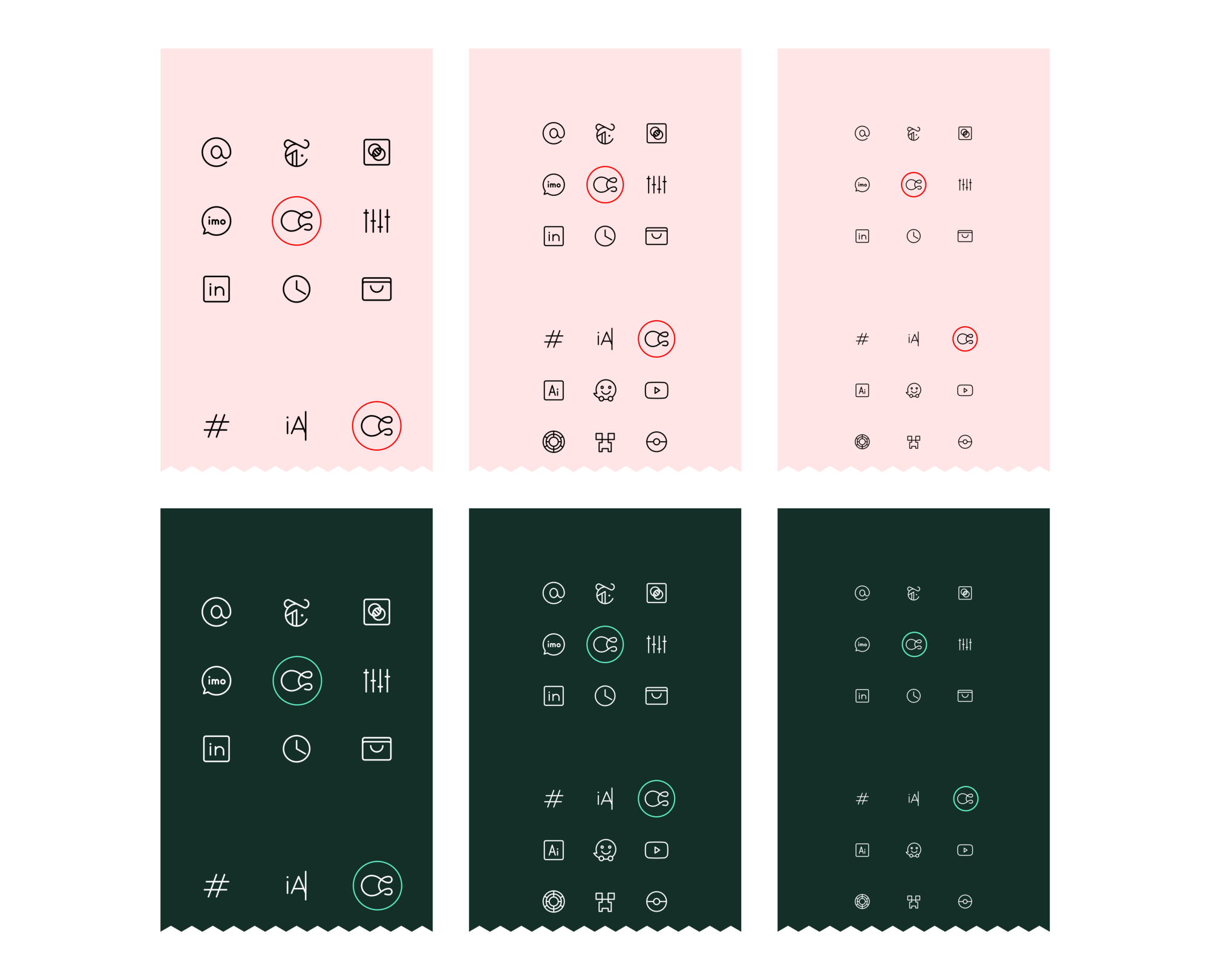 Test sheets set the icon against others in the family