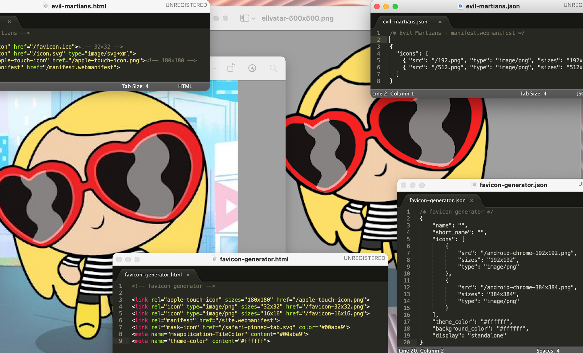 Two Powerpuff Girls avatars of the author, overlapped by little code snippets