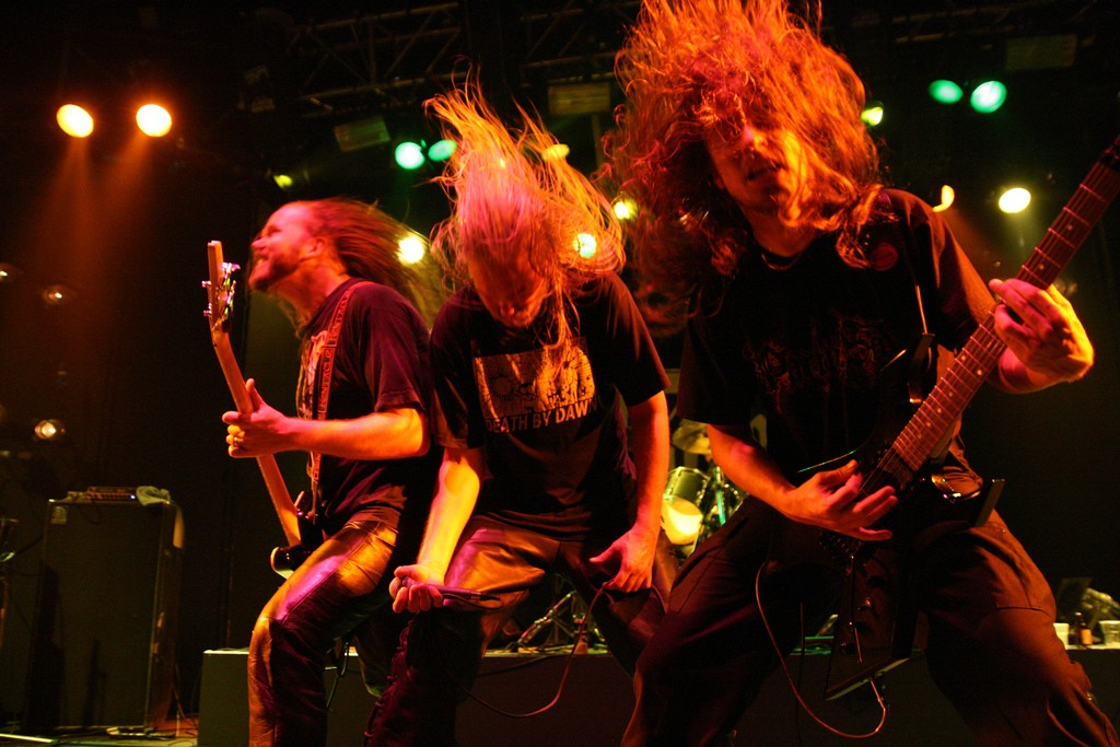 "Headbanging as demonstrated by the band ""Asphyx"". Image available CC 3.0 from Wikipedia."