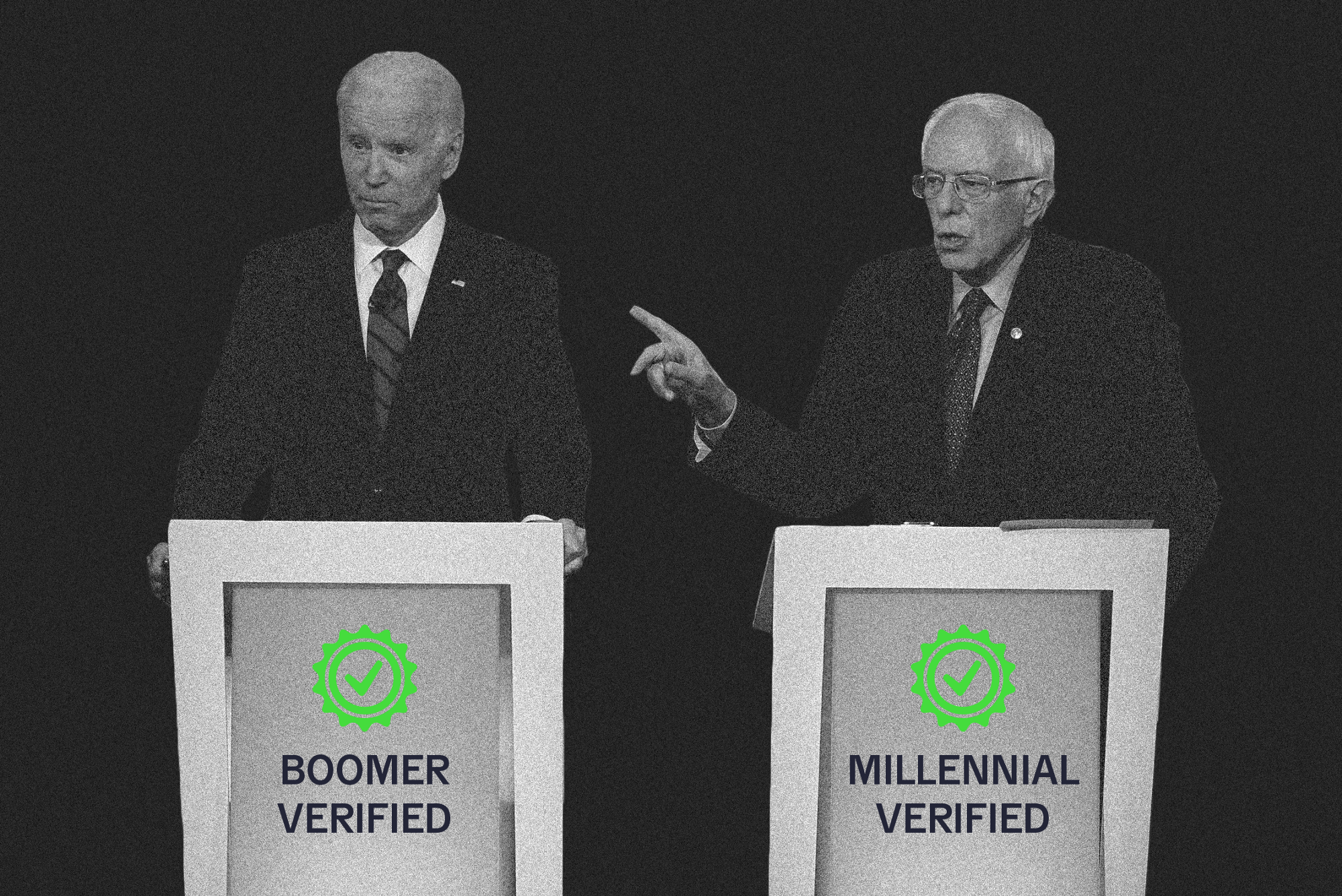 """Joe Biden and Bernie Sanders at separate podiums that say """"Boomer Verified"""" and """"Millennial Verified"""" respectively."""