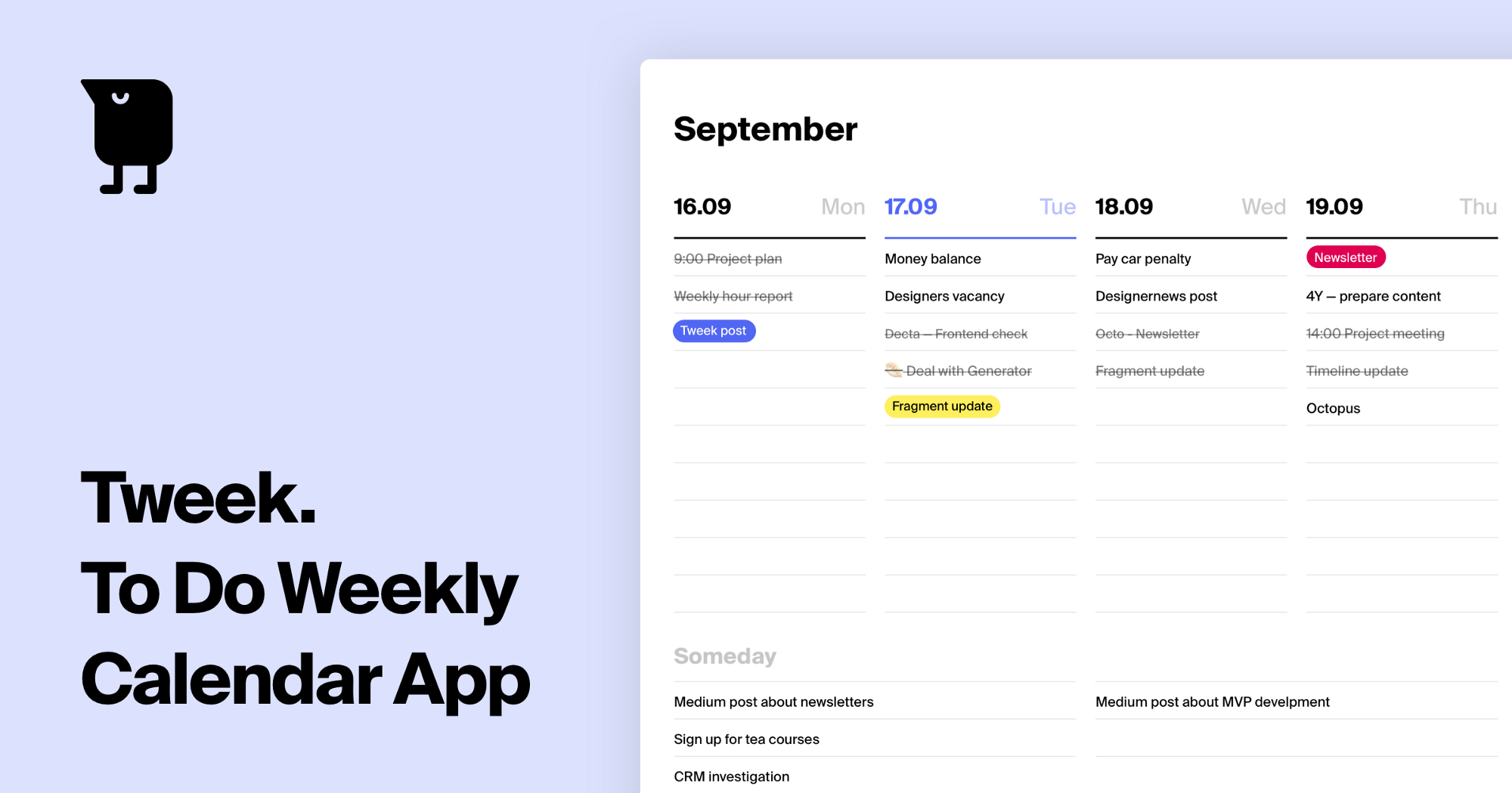 A promotional image for the Tweek app. It shows a weekly to-do list for September against a light blue background.