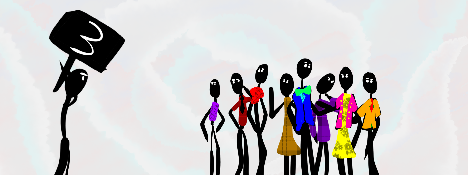 "Stylized illustration of a person holding up a sign that says ""3,"" as a confused group of people watch."