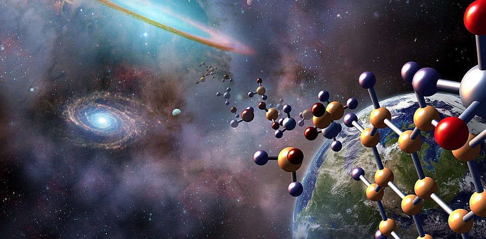 An artist's concept of complex molecules superimposed on an image of Earth and a galaxy.
